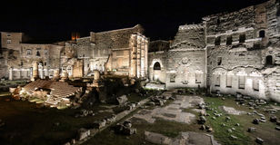 Foro di Augusto at night, Rome, Italy. Built in celebration of Augustus victory over the murder of Caesar in 42 BC. The site is dominated by the remains of the Stock Image