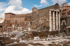 Foro di Augusto ruins at Roma - Italy. Foro di Augusto ruins and columns at Roma - Italy Stock Photos