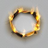 Foro di carta dell'ustione L'effetto marginale della fiamma ha bruciato l'effetto lacerato esplode la struttura incrinata del cal illustrazione di stock