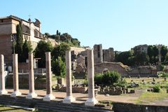 Foro di Cesare. Archaeological locality with ancient columns in Rome, Italy Royalty Free Stock Photos