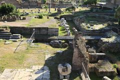 Foro di Cesare. Archaeological locality with remains of ancient buildings in Rome, Italy Stock Photo