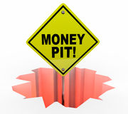 Foro di Pit Spending Wasting Cash Sign dei soldi Immagine Stock