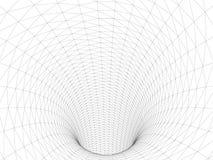 Foro di Wireframed Fondo digitale astratto di vettore griglia del tunnel 3D Tunnel della superficie di Wireframe 3D Struttura di  illustrazione di stock