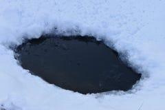 Foro in ghiaccio su uno stagno Fotografie Stock Libere da Diritti