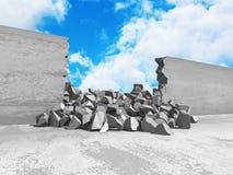 Foro incrinato di danno in muro di cemento al cielo nuvoloso Fotografia Stock