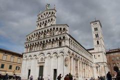 foro michele ・圣 中世纪的教会 卢卡 意大利 免版税库存照片