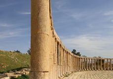 Foro (plaza oval) en Gerasa (Jerash), Jordania Imagen de archivo libre de regalías