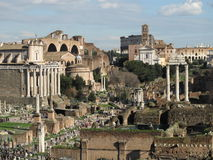 Foro Romano  and coliseum on background Royalty Free Stock Photo