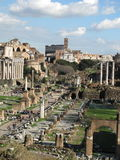 Foro Romano  and coliseum on background Royalty Free Stock Image