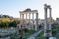 Foro Romano. General view of the Foro Romano with the Palatine on the background Royalty Free Stock Image