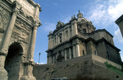 Foro Romano 01. Roma - Chiesa di Santi Luca e Martina Foro Romano Stock Photo