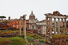 Foro Romano Rome Italy. The Roman Forum-Foro Romano is a rectangular forum plaza surrounded by the ruins of several important ancient government buildings at the Stock Images