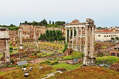 Foro Romano Rome Italy. The Roman Forum-Foro Romano is a rectangular forum plaza surrounded by the ruins of several important ancient government buildings at the Royalty Free Stock Photos