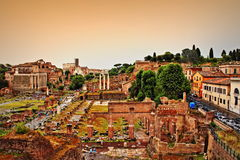 Foro Romano Rome Italy. The Roman Forum-Foro Romano is a rectangular forum plaza surrounded by the ruins of several important ancient government buildings at the Stock Photography