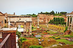 Foro Romano Rome Italy. The Roman Forum-Foro Romano is a rectangular forum plaza surrounded by the ruins of several important ancient government buildings at the Stock Image