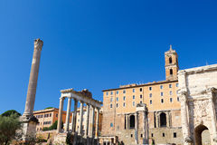 Foro Romano. It's ancient Rome city center, including some of the oldest and the most important Roman architecture Royalty Free Stock Photo