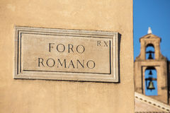 Foro Romano street sign, Rome, Italy Stock Photography