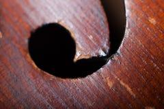 Foro sano del violino di legno Fotografia Stock