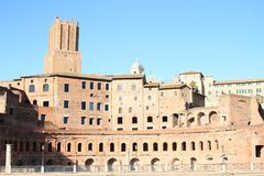 Foro Traiano. With tower Torre delle Milizie behind in Rome, Italy Stock Photo