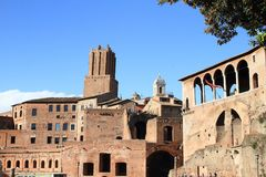 Foro Traiano. With tower Torre delle Milizie behind in Rome, Italy Royalty Free Stock Image