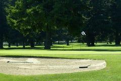 Foro verde della bandierina del rastrello del separatore di sabbia di corso di golf Fotografia Stock Libera da Diritti