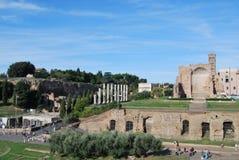 Foro y palatino romanos en Roma en Lazio en Italia Fotos de archivo