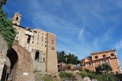 Foro y palatino romanos en Roma en Lazio en Italia imagenes de archivo