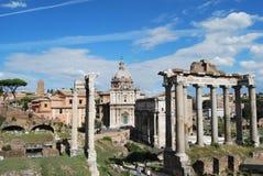 Foro y palatino romanos en Roma en Lazio en Italia Foto de archivo