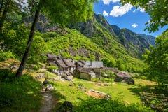 Foroglio waterfall with Swiss Alps in canton Ticino, Bavona valley, Switzerland, Europe.  stock photos