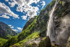Foroglio waterfall with Swiss Alps in canton Ticino, Bavona valley, Switzerland, Europe.  royalty free stock photo