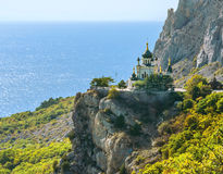 Foros church in Crimea. The Church of Christ's Resurrection near Foros in Crimea. It is located on 400-metre Red Cliff over the Black sea near Baidarsky Pass royalty free stock photography