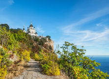 Foros church in Crimea. The Church of Christ's Resurrection near Foros in Crimea. It is located on 400-metre Red Cliff over the Black sea near Baidarsky Pass stock photography