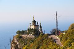 Foros Church near Yalta city in Crimea. View of Foros Church, also known as The Church of Christ`s Resurrection. It is known primarily for its scenic location royalty free stock photo