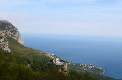 Foros Church  on Red cliff and  black sea coast top view Stock Photo