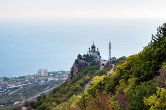 FOROS, CRIMEA - SEP. 2014: Church of the Resurrection of Christ. On the Red Rock, Foros stock photos