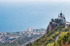 FOROS, CRIMEA - SEP. 2014: Church of the Resurrection of Christ. On the Red Rock, Foros stock photography