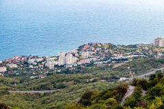 Foros, Crimea - September 2014: View from the mountain Kyzyl-Kaya to Foros settlement. Southern coast of Crimea stock photo