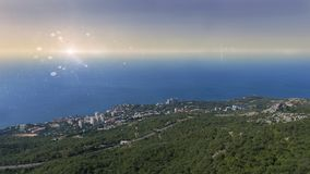 Foros, Krim Ansicht vom Berg Kyzyl-Kaya zu Foros-Regelung, südliche Küste von Krim stockbild
