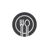 A forquilha, colher, vetor do ícone do prato, encheu o sinal liso, pictograma contínuo isolado no branco Fotografia de Stock