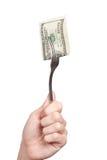Forquilha com cem contas de dólar Fotos de Stock Royalty Free