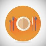 Forquilha da colher da placa do símbolo das refeições da culinária do restaurante ilustração stock