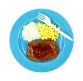 Forquilha da placa do almoço do bife de Salisbuy fotos de stock