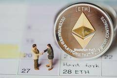 Forquilha dura de Ethereum ETH e mineração de Ethereum imagem de stock royalty free