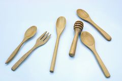 Forquilha e colher de madeira Imagem de Stock Royalty Free
