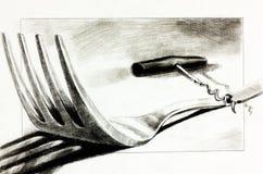 Forquilha e corkscrew ilustração royalty free