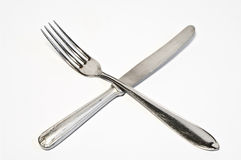 Forquilha e faca cruzadas Imagem de Stock Royalty Free