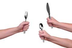 Forquilha, faca e colher fotografia de stock royalty free
