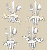 Forquilha, faca, grupo do esboço do desenho da mão da colher. Cuteleiro Imagem de Stock