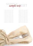 Forquilha, faca, guardanapo no fundo branco Imagem de Stock Royalty Free