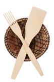 Forquilha, pá e uma placa das folhas do casco Fotografia de Stock Royalty Free